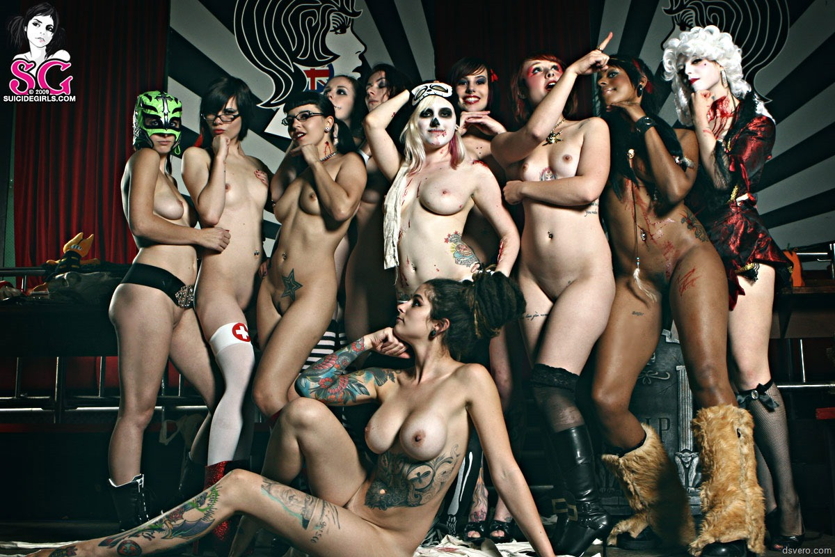 Hot babes in a halloween group sex party