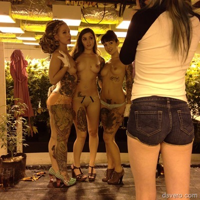 Три девушки с тату обнажаются